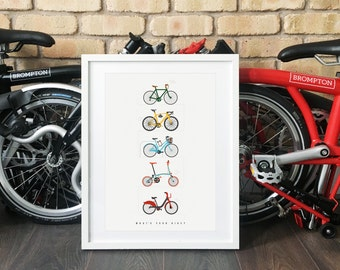 A Cycling Poster- 'What's your Ride ?' Illustrated poster prints for bikers and cyclists - Gifts for Cyclists - Gifts for Londoners