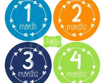 Boy Milestone Stickers - Blue Green Orange Baby Stickers - Arrow Milestone Stickers - Baby Boy Stickers - Baby Boy Monthly Stickers - 062