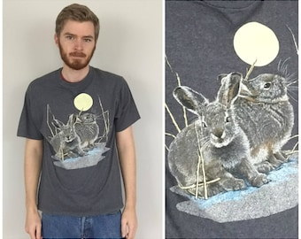 90s Rabbits and the Moon T-Shirt size LARGE ~ 15497