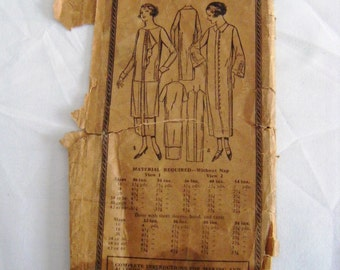 Vintage 1920s Excella E1651 one piece dress PRINTED pattern