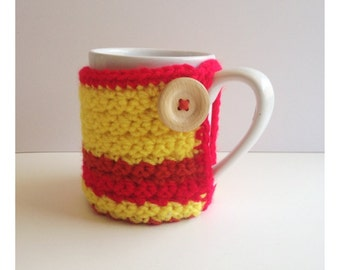 Striped Yellow, Red, and Orange Mug Cozy With Wood Button