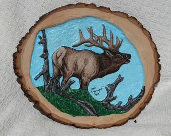 Handcarved, handpainted Elk relief in bass wood.  Original, unique, collectible, one of a kind.  Signed and dated, framed by natural bark.