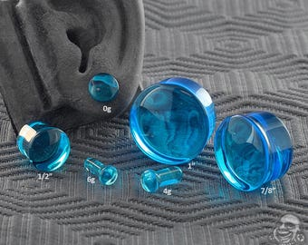 "Single Flare Pacific Blue Glass Plugs 6g, 4g, 2g, 1g, 0g, 10mm, 7/16"", 1/2"" (12.5mm), 9/16"", 5/8"", 3/4"", 7/8"", 1"""