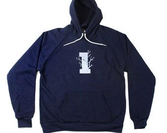 SALE - Large Mens Hoodie - Tree Hoodie - Made in America - Mens Drop Sleeve Hoodie - Tree Hoodie - S M L XL kY8r02hhkk