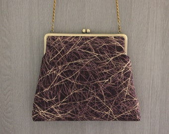 Dark purple Evening bag/ Cross body/ Kimono bag /Hand-made