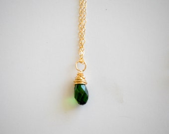 May gold necklace (emerald), May birthstone, teardrop pendant, 14 karat filled gold necklace, Bridesmaid gift, new mom gift