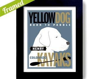 Yellow Lab Retriever Kayak Art Labrador Dog Art Print Personalized