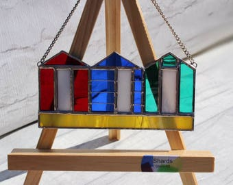 Beach Huts Stained Glass Suncatcher - MADE TO ORDER - Window or Wall Hanging Ornament - Gift for Her - Gift for Him - Holiday Present
