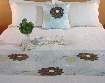 Blue Bed Runner, Bed Scarf, Bedding, Queen Bed Scarf Bed Runner Sky Blue Decorative Bed Scarf