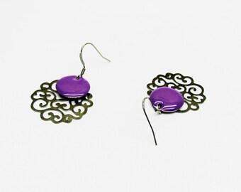 Prints black rosette and sequin purple earrings, original design earrings, unique women gift