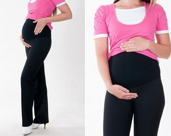 Elegant maternity pants maternity belly band pregnancy pants crease black