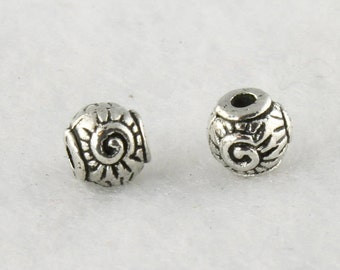 5mm Antique Silver Round Bead, Lead Free Pewter, Jewelry Supplies, Beading Supplies, Round Spacer, Silver Spacer - Quantity: 36 - PWT46/5S