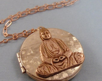 Rose Gold Buddha,Locket,Gold Locket,Buddha,Buddha Locket,Buddha Necklace,Locket,Rose Gold,Rose Gold,Yoga Necklace,Locket valleygirldesigns.