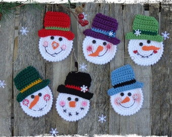 Set of 6 - Snowman Christmas Ornament, Crochet Snowman, Christmas Tree, Package Tie On, Gift Tag, Holiday Gift, OFG FAAP