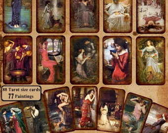 John Waterhouse ORACLE deck ~ 75 Tarot Size Waterhouse Paintings  for your Intuitive Divinations!