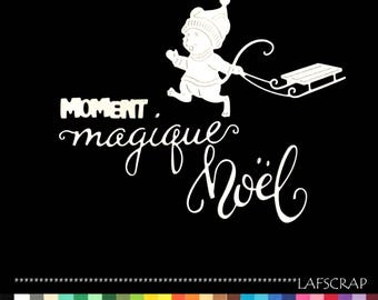 Cuts scrapbooking character mouse sled animal Word moment magical Christmas die cut paper cut embellishment