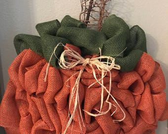 Pumpkin Wreath - Burlalp Pumpkin Wreath - Halloween Wreath - Fall Wreath - Autumn Wreath - Front Door Wreath - Seasonal Wreath