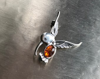 Silver Hummingbird brooch