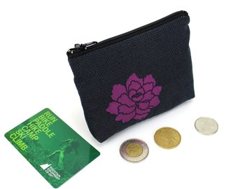 floral pouch, coin wallet, zippered coin purse, change pouch, coin pouch, Kimono fabric pouch, Nadeshiko