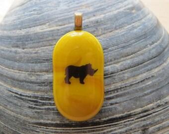 0053 - Rhino Fused Glass Pendant