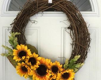 "Fall Wreath; Sunflowers; Large, 18"" (1015)"