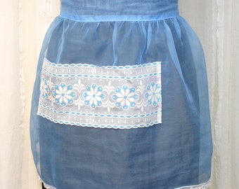 Vintage Blue Sheer Chiffon Hostess Half Apron with Decorative Flocked Lace Pocket and White Lace Edging, Women's Kitchen & Dining Decor
