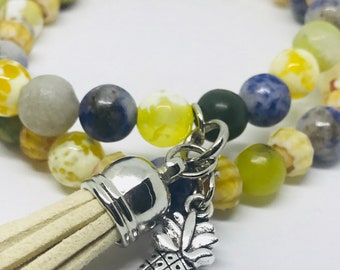 Tropical Pineapple Beaded Bracelet Set