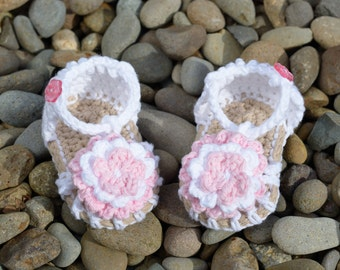 Baby Sandals, Crochet Baby Girl Sandals, Pink and White Flower Sandals, Simply Summer Sandals, Gift