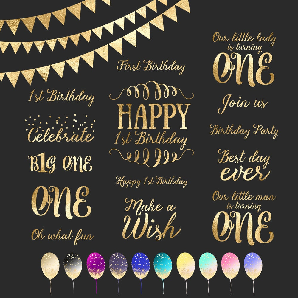 First Birthday, Gold Foil Clipart, Word Art, Photo Overlay