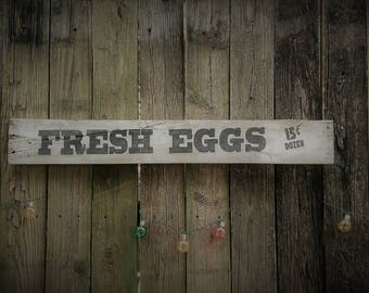 Rustic, Reclaimed, Pallet Wood Signs, Fresh Eggs 15 Dozen