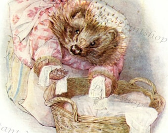 MRS.TIGGY WINKLE Instant Digital Download 1905 Beatrix Potter Art Print