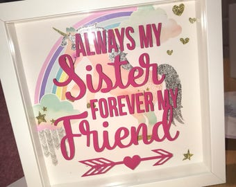 Always My Sister Quote Box Frame