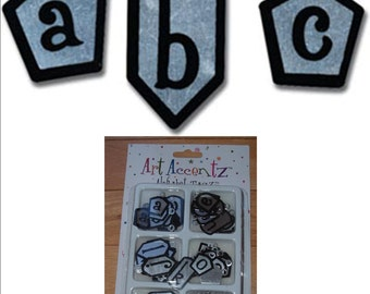 100 Black on Silver METAL ALPHABET Tags lowercase & 100 EYELETS embellish scrapbook page handmade cards craft projects letters embellishment
