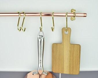 """Brass """"S"""" Hooks. Pot Rack Hooks. Brass Hooks. Kitchen Hooks. (Set of 5 )Five."""