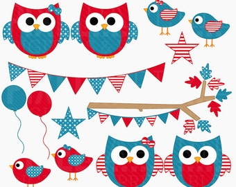 4th of july clipart owls birds clip art american america - 4th of July Hoots and Tweets Digital Clipart - BUY 2 GET 2 FREE
