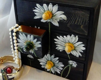 Daisies Hand Painted on a Set of Drawers