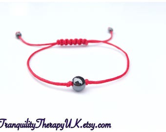 Red Thread Protection Amulet Bracelet. Hematite. Good Luck. Express Love. Discourage Bad Luck, Evil Eye and Negativity. Spirituality.