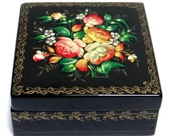 Russian Wooden Box - Handpainted Fedoskino Russian Lacquer Box - Flower Bouquet Ornament, Vintage Jewellery Box, Trinket Box, Palekh Box