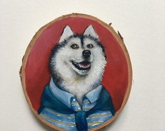Super Preppy Husky Dog - Small Oil Painting