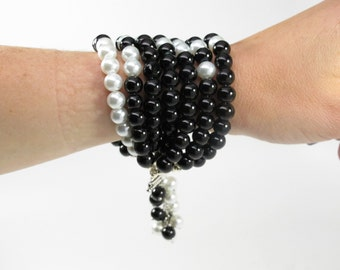 Black and White Pearl Necklace Statement Necklace - White Pearl Necklace – Black Pearl Necklace - Bridal Pearls Bridesmaid Gift