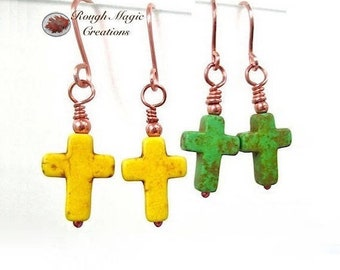 Cross Earrings, Green Yellow Gemstone, Easter Jewelry, Christian Statement, Choose Stone Color, Religious Womens Gift, Present for Wife E199