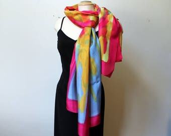 "Handpainted silk shawl, 22""x70"""