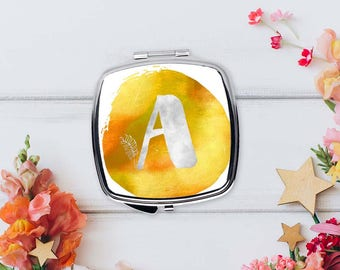 Romantic gifts for women, Initial pocket mirror, Monogram compact mirror, Yellow watercolor mirror, Personalized Bridesmaids gift, CMin001-4