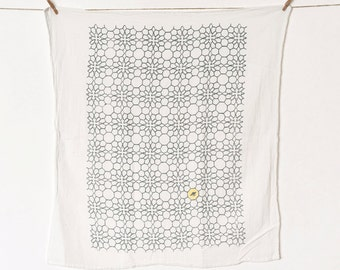 Honeycomb Flowers Kitchen Towel : Slate Flour Sack Tea Towel