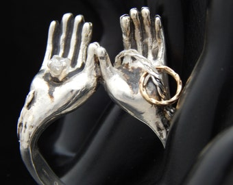 Open Hands Ring Sterling Silver with Gold