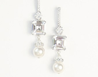 Asscher Cut Diamante Pearl Bridal Earrings Wedding Jewelry Earrings Art Deco Cocktail Earrings