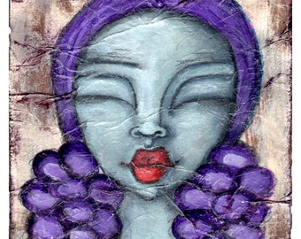 Prints for Women// Decorative Art Print// Shabby Chic Wall Art// Whimsical Art Print// Rustic Art Print// Wall Art// Girl with Red Lips