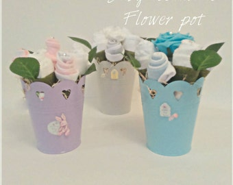 Baby Shower baby essentials Tin flower pot gift maternity leave gift nappy cake