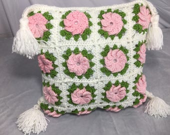Granny Square Flower Pillow with tassels, New Pillow