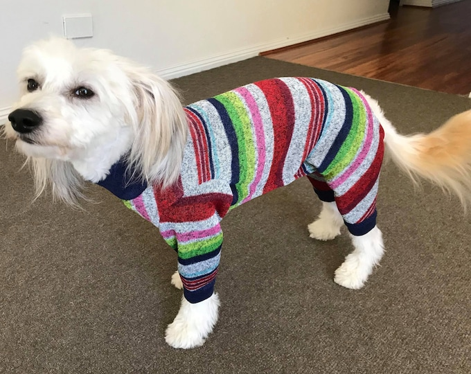 "Dog Pajamas. ""Multi-Stripe Sweater Jumper"" - Italian Greyhound and small dog sizes"